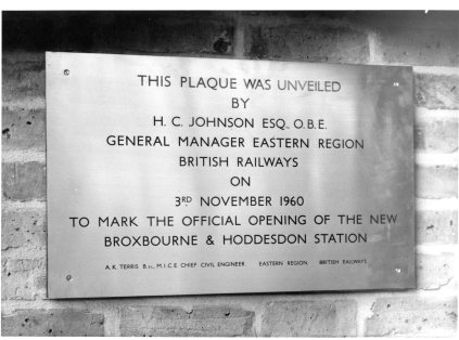 Broxbourne Station Plaque 1960