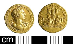 Gold Aureus of Trajan. Lowewood Museum Application