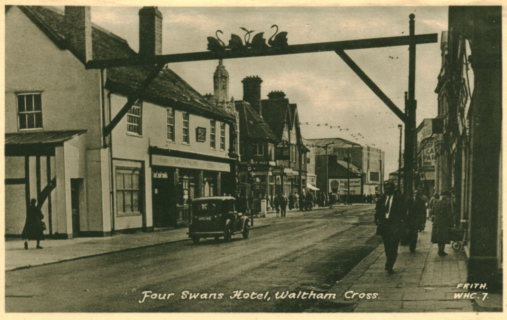 The Four Swans Hotel, and gantry, in Waltham Cross in 1940