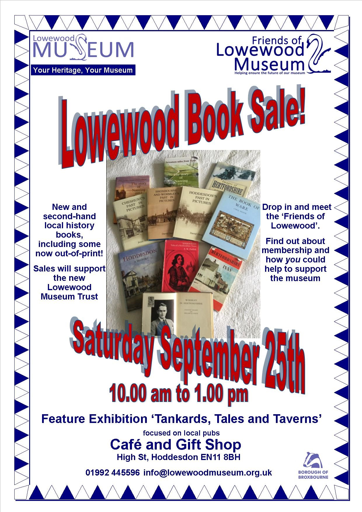 Second hand local history book sale at Lowewood Museum on Saturday 25 September 10am-1pm